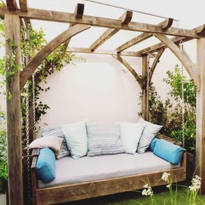 Sitting Spiritually, swinging day bed, RHS Chelsea Flower show, 2017, garden design , planting design, jarmanmurphy
